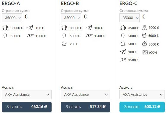 тарифы ERGO