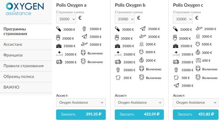 программы страхования Oxygen Assistance