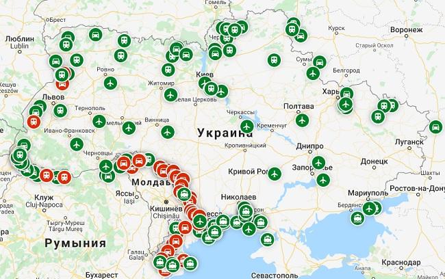 карта пунктов въезда в Украину