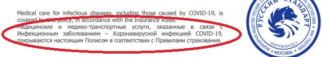 покрытие Русским Стандартом Covid-19