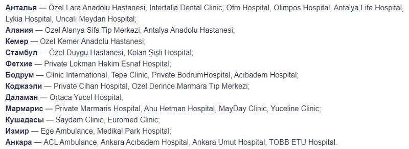 клиники Tripinsurance Assistance в Турции